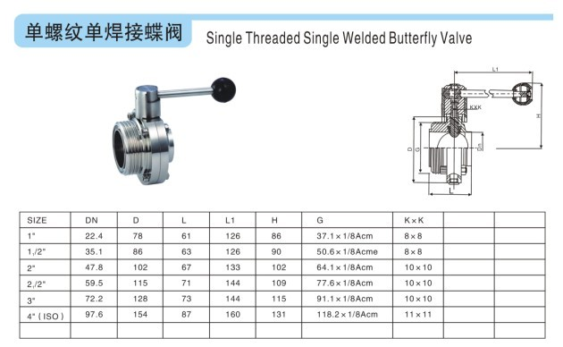 19单螺纹单焊接蝶阀图片