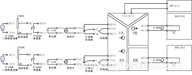 产品规格   1、端子螺丝材质:铁表面镀镍(螺丝容许扭矩小于0.8N·m)   2、机壳材质:耐燃性树脂   3、隔离:通道绝缘(输入-输出-电源间)   4、变送器的结构:小型卡装结构   5、智能信号变送器连接方式:5mm接线端子   6、电源显示灯:绿色LED,电源供电时点亮   7、报警指示灯:红色LED,输入回路异常时闪烁 产品接线图